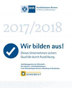 Wir bilden aus als anerkannter Ausbildungsbetrieb 2017/2018